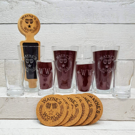 Personalize beer tap handle with matching pint glasses, cork coasters and sampling glasses.