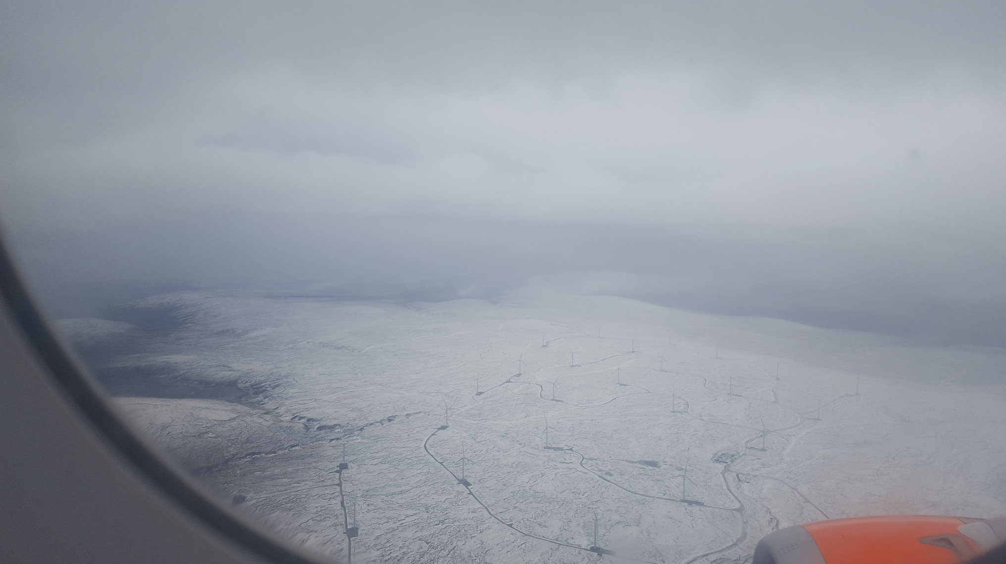 Snow from the plane window.