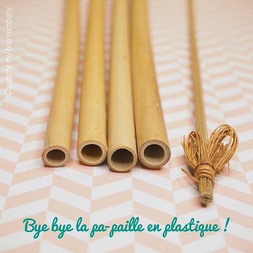 lot de 3 Pailles en Bambou + un Goupillon Coco