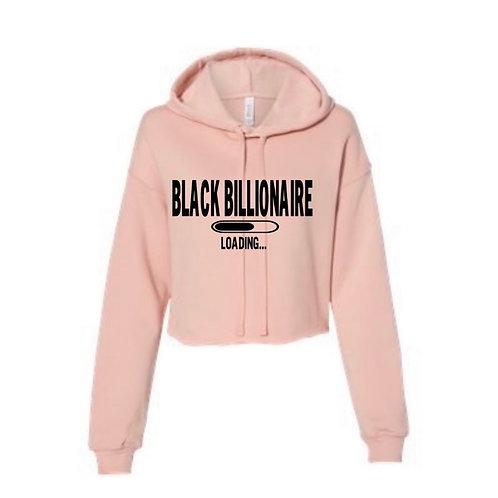 Black Billionaire Loading Cropped Hoodie (Black Letters)