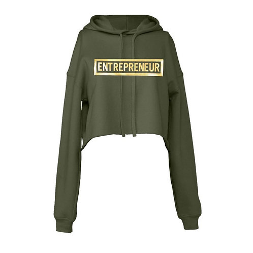 Entrepreneur - Gold Letters Cropped Hoodie