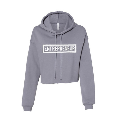 Entrepreneur - White Letters Cropped Hoodie