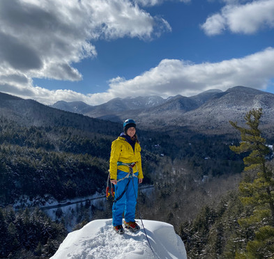 On top of an ice climb in the Adirondack