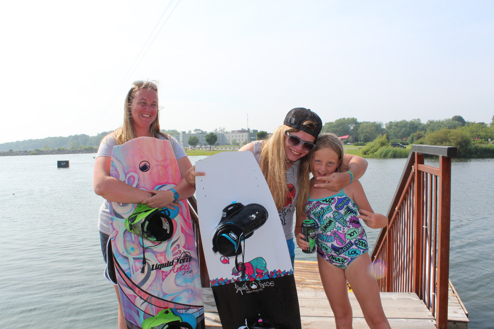 women wakeboarding