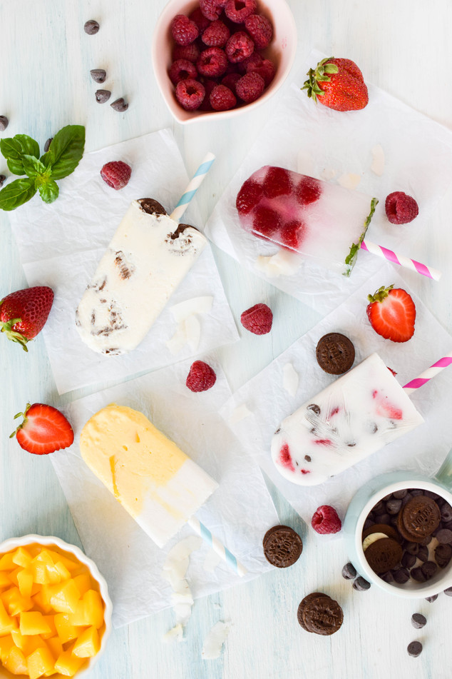 Pletas, coco-mango, cookies&cream, limonada-frambuesa-alabahaca, yogurt-frutilla-chocolate