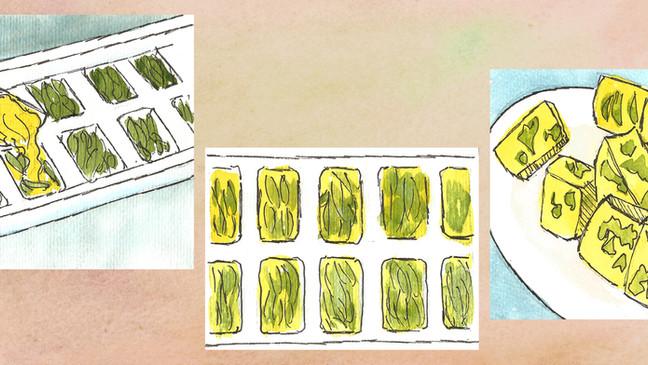Cubos de mantequilla saborizados