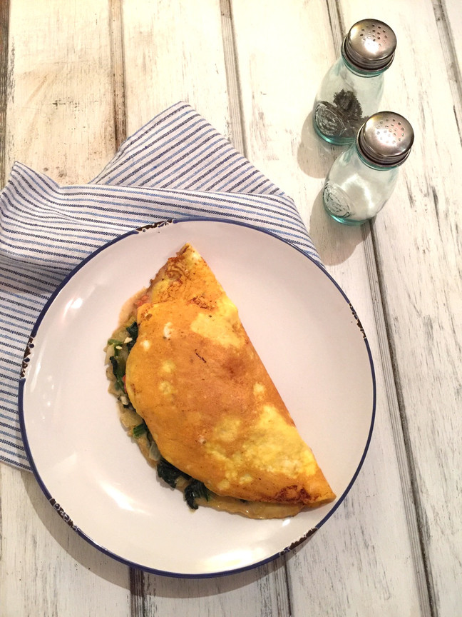 Omelette de espinaca y ricotta