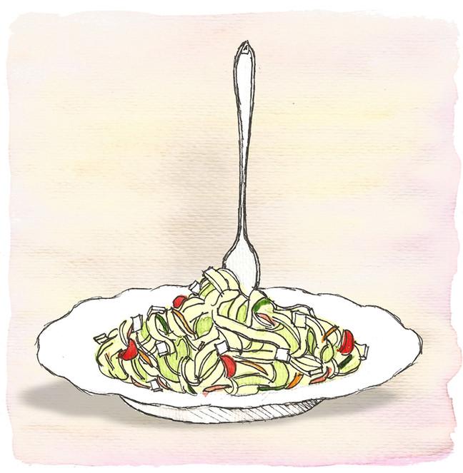 Pasta fría con pesto de cilantro
