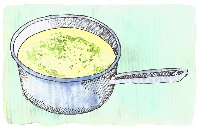 Crema de papas y puerros con pesto de cilantro