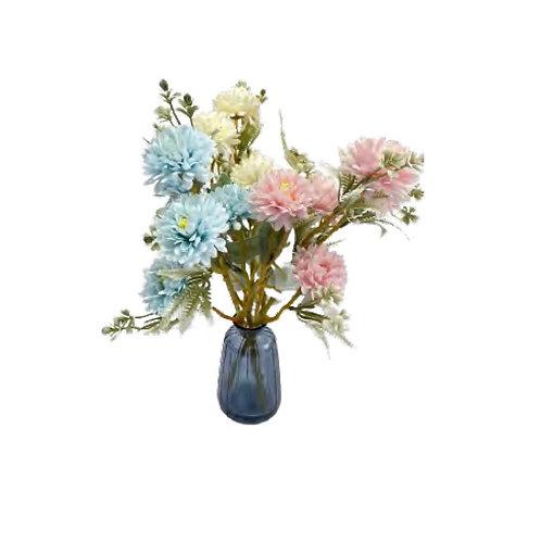פרחים מלאכותיים - כחול לבן ורוד