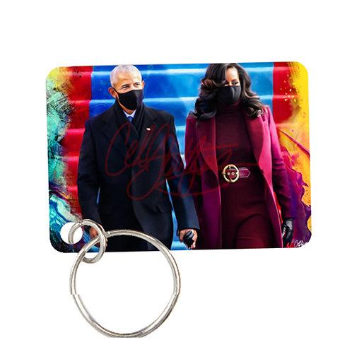 Obamas / Kamala - Metal Keychain