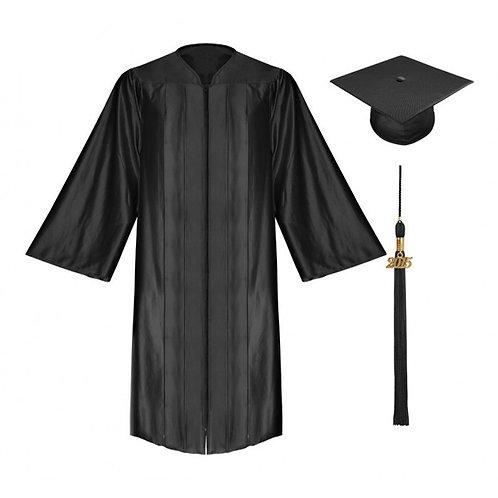 Black Satin Graduation Gown, Cap And Tassel