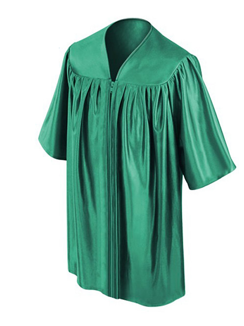 Emerald Green Satin Child's Graduation Gown