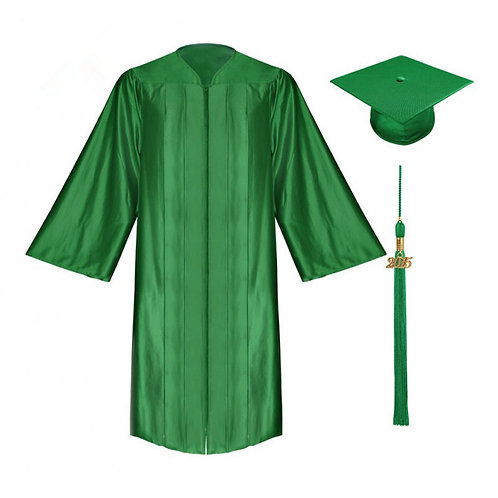 Green Satin Graduation Gown, Cap And Tassel