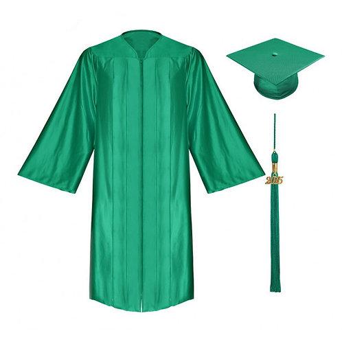 Emerald Green Satin Graduation Gown, Cap And Tassel