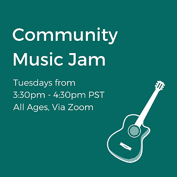 A poster that reads Community Music Jam With Erin