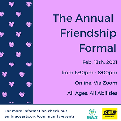 "A purple and navy poster with hearts that says ""The Annual Friendship Formal"""