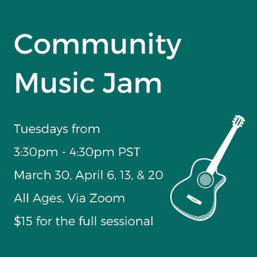 A poster for the community music jam a drawing of a guitar