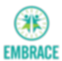 The Embrace logo: A turqoise circle with lime spokes come in to meet two dancing figures in turquoise and lime. Beneath is EMBRACE.