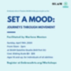 Workshop Poster For Set A Mood. All informaton on the poster is also in the text of this page.
