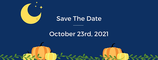"""A halloween themed poster that just says """"Save The Date. October 23rd, 2021"""" It has pumpkins and the moon on it, implying a halloween themed event coming up."""