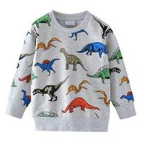 Siwmper deinosor llwyd / Grey dinosaur jumper
