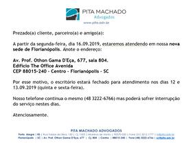 Novo endereço PITA MACHADO ADVOGADOS em Florianópolis/SC