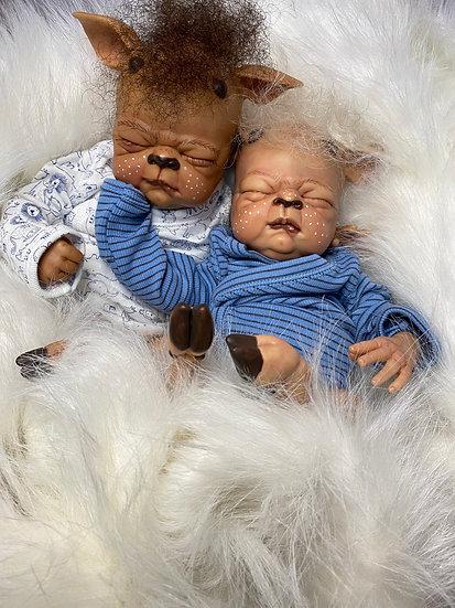 Fawna Twin Set, Cindy Musgrove, Fantasy Collector's Doll, OOAK, Reindeer Reborn,
