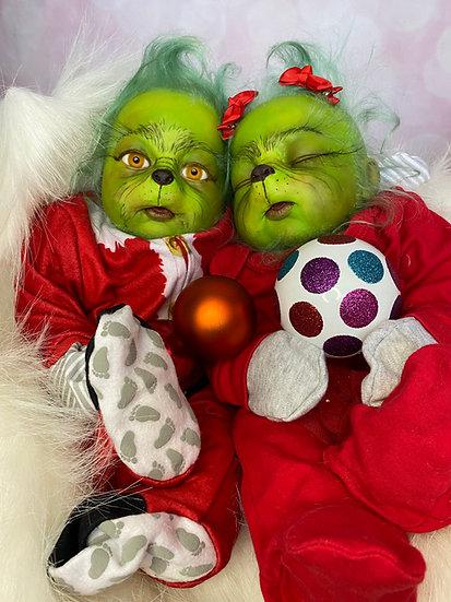 Grinch doll, reborn, baby, twins, cute Christmas gift, Mr. Grinch, festive, OOAK