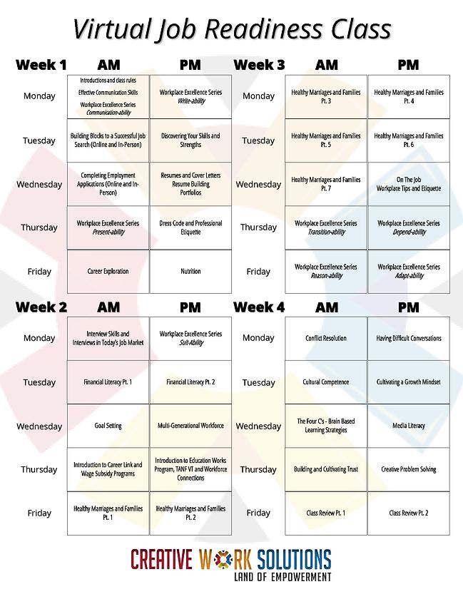 Virtual Job Readiness Monthly Class Sche