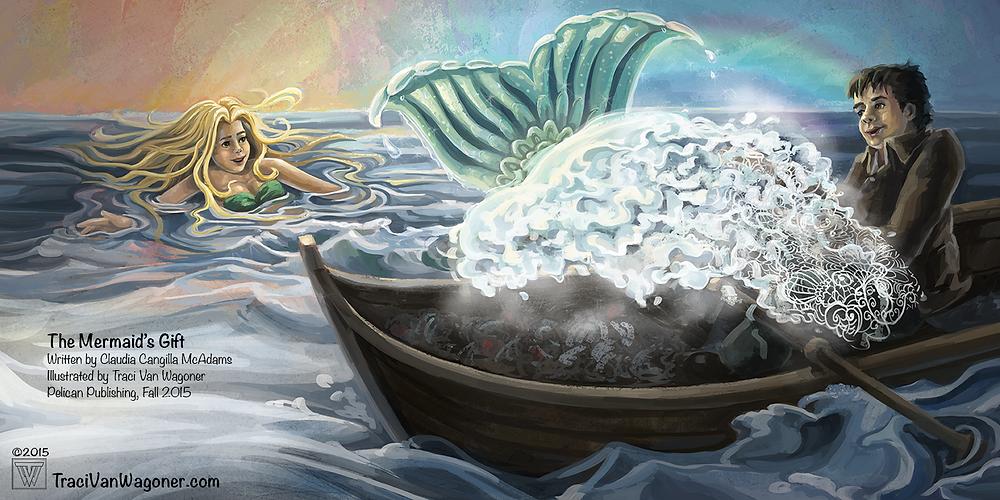 Traci Van Wagoner interior illustration for The Mermaid's Gift