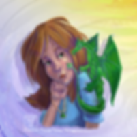 A girl holds a necklace with a green gem in her fist while a green dragon sits on her shoulder, its tail touching her cheek.