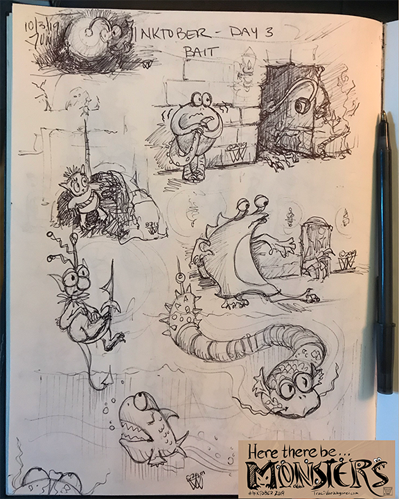 Inktober 2019 Monster sketches