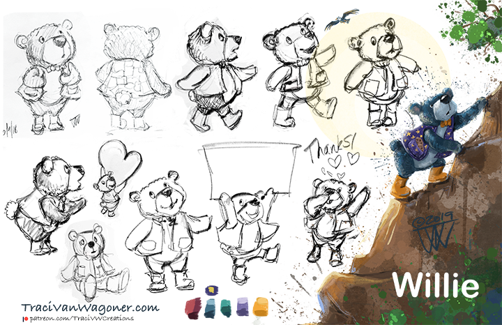 Character development for picture book teddy bear main character
