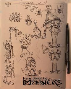 Inktober 2019 Monster sketches