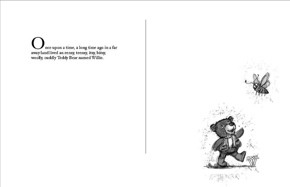 Opening spread sketch for Eensy, Teensy Teddy Bear's Adventure