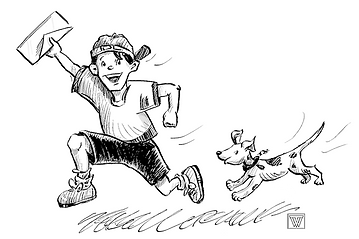 A back and white pen an ink illustration of a boy carrying an envelop with a dog running beind him