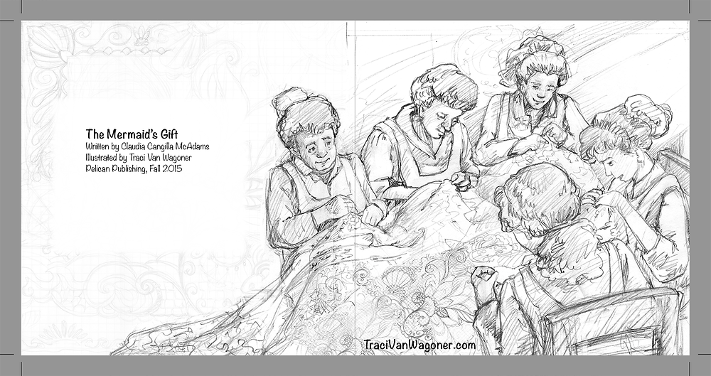 Interior pencil sketch for The Mermaid's Gift