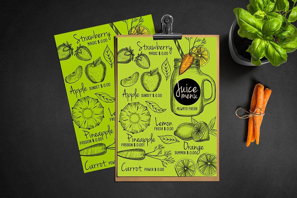 How to start a juice bar - juice bar menu deign - smoothie bar menu design
