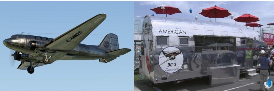 Types of vehicles used for food trucks - WWII plane