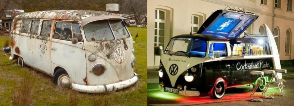 Types of vehicles used for food trucks - VW Bettle
