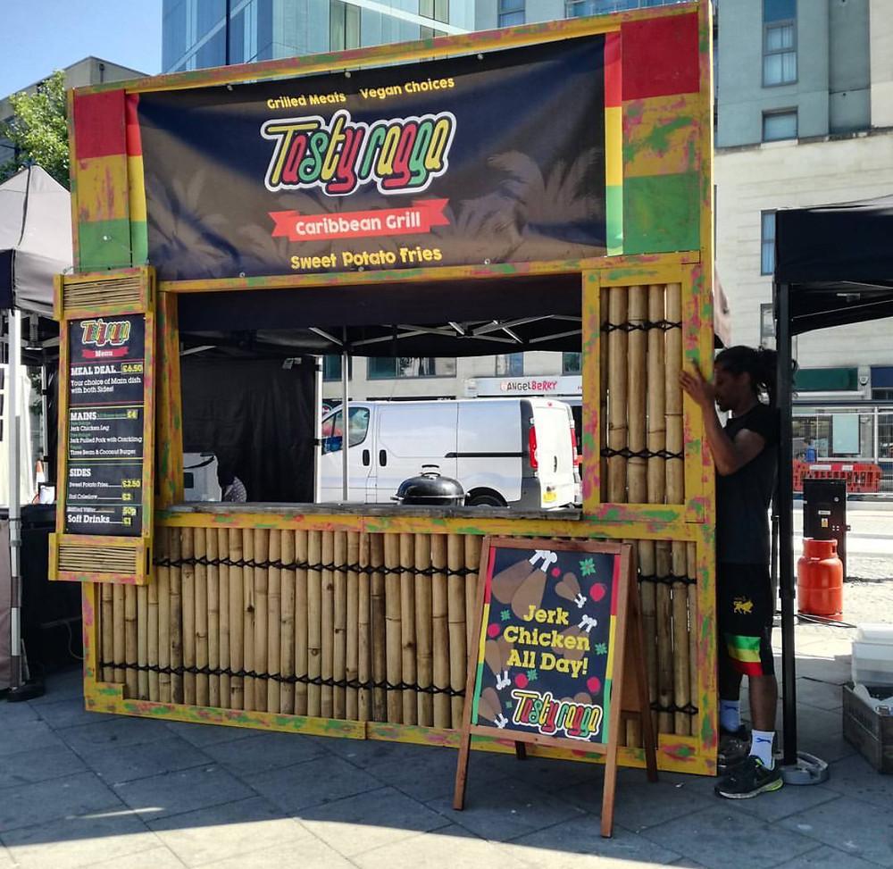 Street food stall at a food market