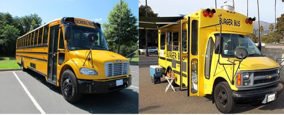 Types of vehicles used for food trucks - School bus