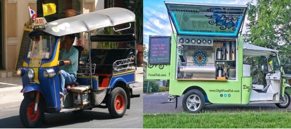 Types of vehicles used for food trucks - Tuk tuk taxi