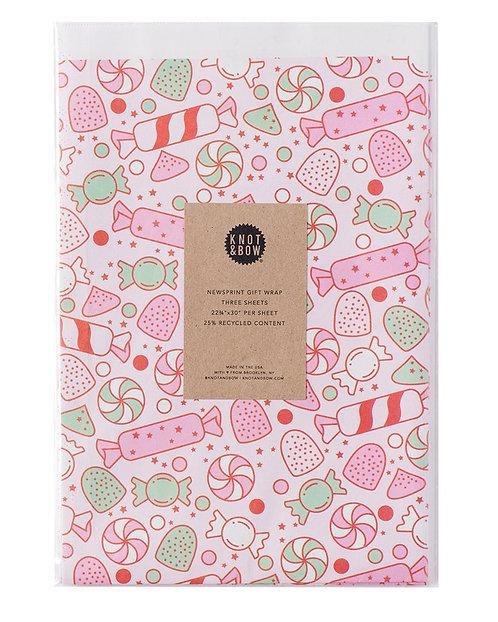 Candy Bliss Newsprint Giftwrap