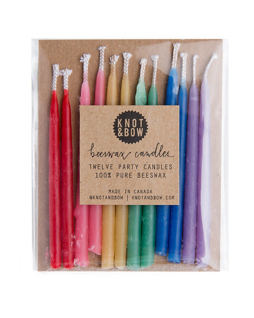 Rainbow Short Beeswax Party Candles