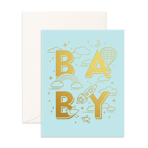 Baby Universe Blue Greeting Card