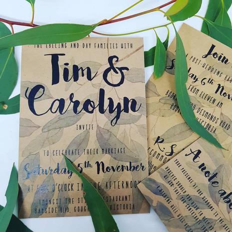 Tim & Carolyn - Kraft wedding stationery
