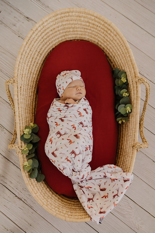 Forest Friends Swaddle and Beanie Set