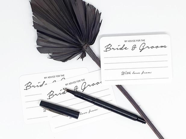 Bride & Groom advice cards